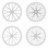 Bicycle spoke wheel tangential lacing pattern. 2X black and white color isolated on white background royalty free illustration