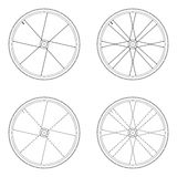 Bicycle spoke wheel tangential lacing pattern. 1X black and white color isolated on white background stock illustration