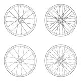 Bicycle spoke wheel tangential lacing pattern. 3X black and white color isolated on white background vector illustration
