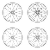 Bicycle spoke wheel tangential lacing pattern. 4X black and white color isolated on white background vector illustration