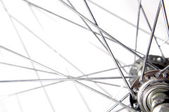 Bicycle spokes. A closeup view of metal bicycle spokes near the hub of a bicycle wheel stock image