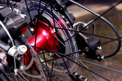 Bicycle spokes. A close up image of modern bicycle spokes royalty free stock photography