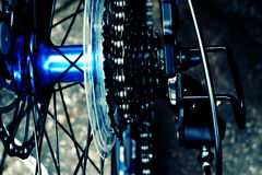 Bicycle spokes. A close up image of modern bicycle spokes royalty free stock images