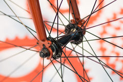 Bicycle spokes detail closeup. Detail view with hub and spokes o Stock Images