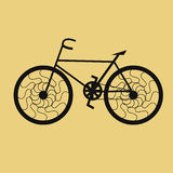 Bicycle spokes laced riderless. Riderless bicycle with spokes laced on yellow background Stock Image