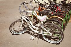 Bicycle place at parking. Bicycle sport place at parking Stock Image