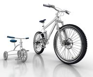 Bicycle and sports bike Stock Photos