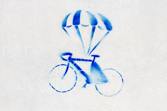 Bicycle  Paint. Bicycle Spray Paint on the wall Royalty Free Stock Photos