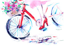 Bicycle. Spring bouquet of flowers and female foot Stock Photo