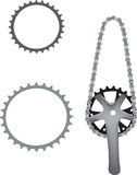 Bicycle sprocket. Sprocket for bicycle pedal accessory Stock Photo