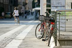 Bicycle on the square with paving stones. Summer. Italy. Bicycle on the square with paving stones Royalty Free Stock Photo