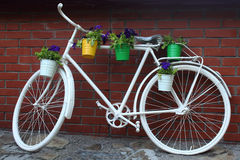 Bicycle stand for flowers Royalty Free Stock Images