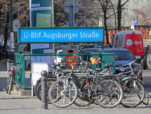 Bicycle stand at a subway station in Berlin Royalty Free Stock Photo
