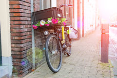 Bicycle stands near wall on the street in Dutch city Royalty Free Stock Images