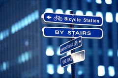 Bicycle Station Sign Royalty Free Stock Images