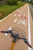 Bicycle steering wheel and bicycle lanes with roadsigns. On the asphalt royalty free stock images