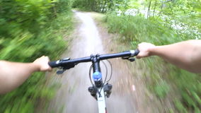 Bicycle steering wheel path forest trees stock footage