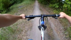 Bicycle steering wheel path forest trees stock video footage
