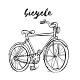 Bicycle stop picture. Hand drawn stock illustration. Black and white whiteboard drawing vector illustration