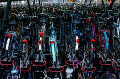 Bicycle Storage Lot. Thousands of bicycles are stored in stacks at a train station in Leiden in the Netherlands royalty free stock photo