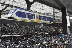 Bicycle storage at the  station in holland Stock Images