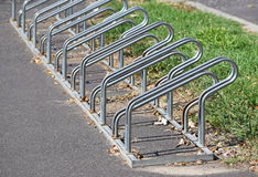 Bicycle storage on the street side Stock Photos
