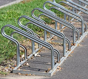 Bicycle storage on the street side Stock Photo