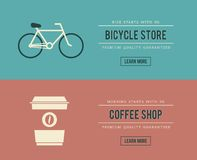Bicycle store and coffee shop banners Stock Photos
