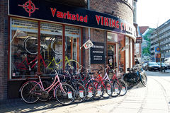 Bicycle Store in Copenhagen. Bicycles are lined up on a beautiful spring day in Copenhagen Stock Image