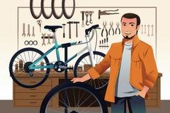Bicycle store owner in his bike repair shop. A vector illustration of bicycle store owner in his bike repair shop vector illustration