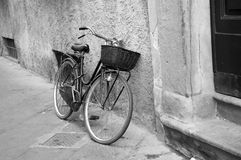 Bicycle street black white. Old bicycle on street black and white Stock Image