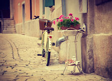 Bicycle on the Street of Mediterranean Town Royalty Free Stock Images