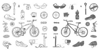 Bicycle stuff. Doodle set Stock Images