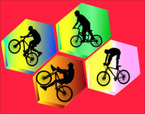 Bicycle stunts 1 with background  silhouette Royalty Free Stock Photo
