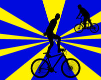 Bicycle stunts 1 with background vector silhouette Stock Photos
