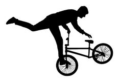 Bicycle stunts  silhouette. Bicycle stunts  silhouette isolated on white background. Bike performer. exercising bmx acrobatic figure. Complicate trick, street Stock Photo
