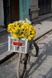 Bicycle with sunflowers Stock Photo