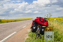 Bicycle and sunflowers in Burgundy Stock Photos