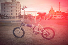 Bicycle at sunset. Royalty Free Stock Image