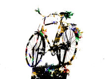 Bicycle on support silhouette with colors Stock Images