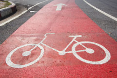 Bicycle symbol on bicycle way Stock Photography