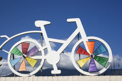 Bicycle Symbol for a cycling route. A model of a bike on a bike route. Cycle friendly paths are big and gaining popularity through the world stock photos