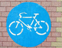 Bicycle symbol on the ground Royalty Free Stock Photography
