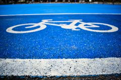 Bicycle symbol lane on the road royalty free stock images