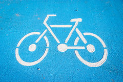 Bicycle symbol lane  on the road Royalty Free Stock Photo