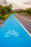 Bicycle symbol lane  on the road. In Nakhon Nayok, Thailand. The bike lane was built to promote physical activity Stock Images