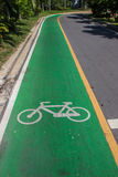 Bicycle symbol lane  on the road Royalty Free Stock Photos