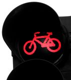 Bicycle symbol with red light on Royalty Free Stock Images