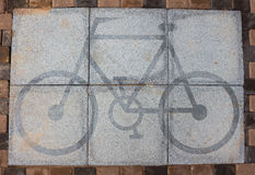 Bicycle symbol. Bicycle symbol on the road Stock Photos