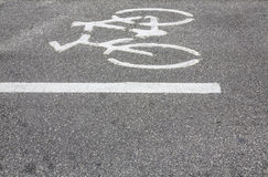 Bicycle symbol on the road royalty free stock photography